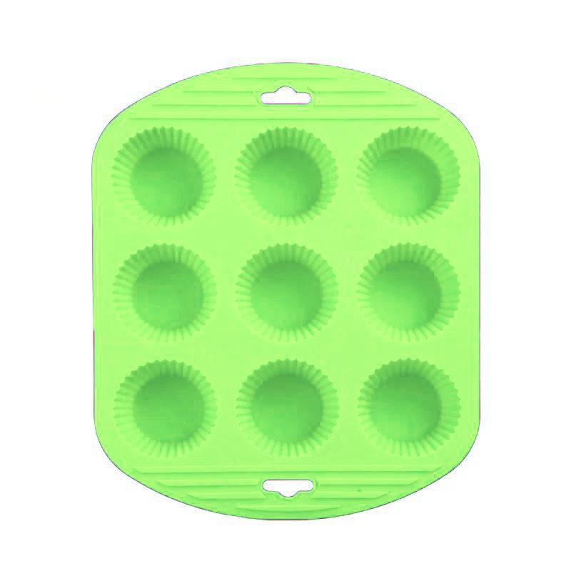 Силиконовая Рифлёная Форма Для Выпечки Кексов, 9 Ячеек, Цвет Зеленый