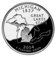 25 центов США 2004г - Мичиган, UNC - Серия Штаты и территории