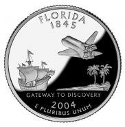 25 центов США 2004г - Флорида, UNC - Серия Штаты и территории