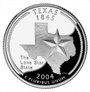 25 центов США 2004г - Техас, UNC - Серия Штаты и территории