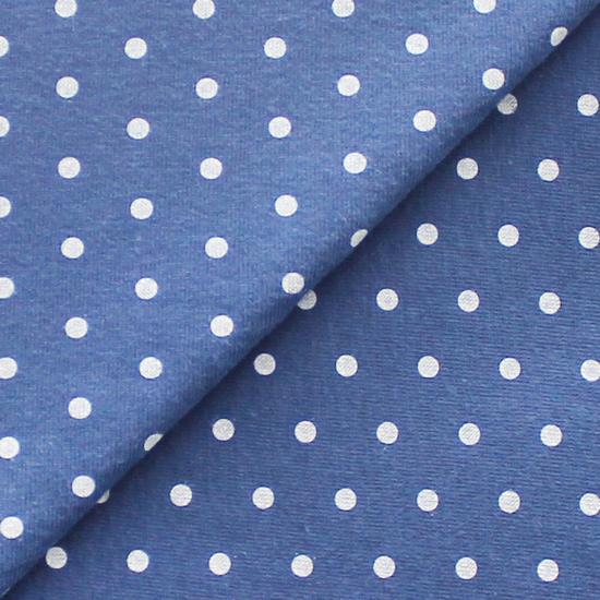 Лоскут трикотажной ткани Горошек на синем