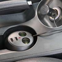 Авторазветвитель прикуривателя в подстаканник на 2 гнезда + 2 USB In-Car WF-186 (2)