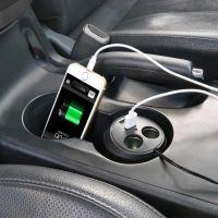 Авторазветвитель прикуривателя в подстаканник на 2 гнезда + 2 USB In-Car WF-186 (3)