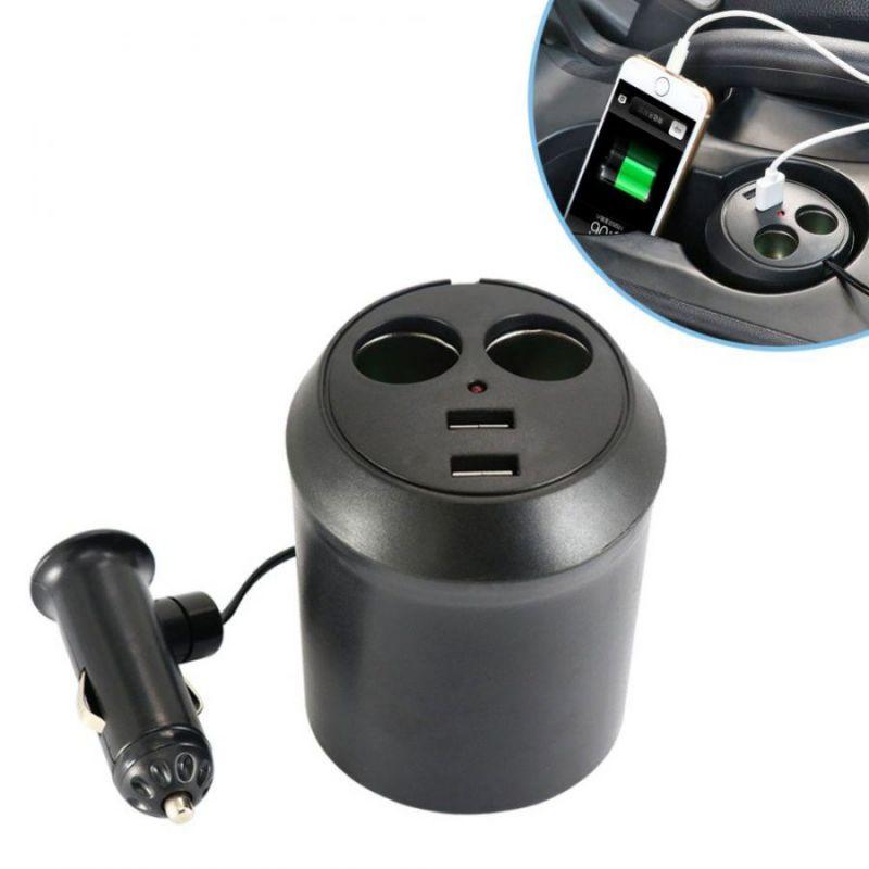 Авторазветвитель прикуривателя в подстаканник на 2 гнезда + 2 USB In-Car WF-186