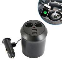Авторазветвитель прикуривателя в подстаканник на 2 гнезда + 2 USB In-Car WF-186 (1)
