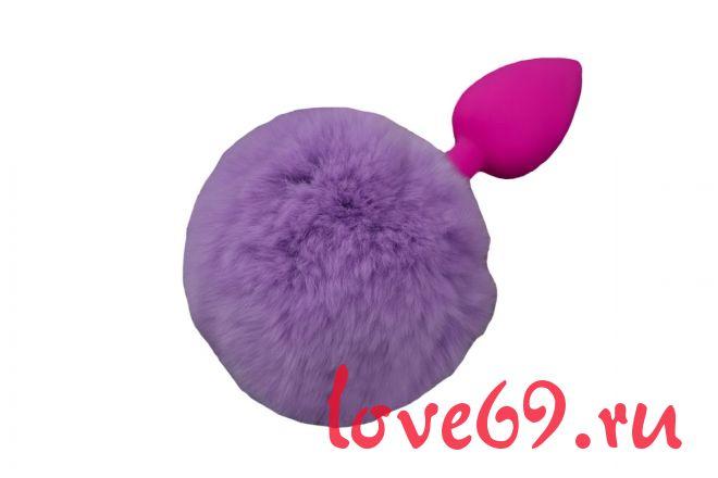 Маленькая розовая силиконовая пробка с пушистым фиолетовым хвостиком