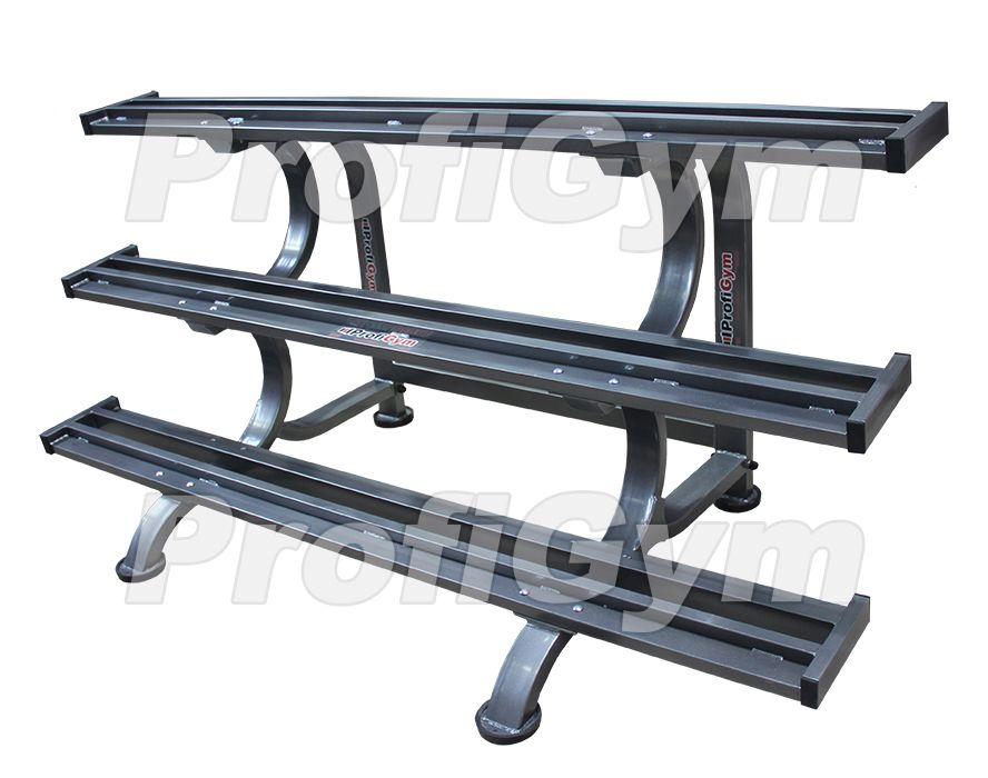 СТ3-1400-K Стеллаж для профессиональных гантелей трехрядный на 9 пар серия Classic