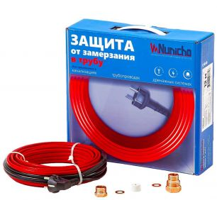 Готовый комплект кабеля NUNICHO Micro  внутрь трубы 10 Вт/м - 6 метров  с вилкой и сальниковым узлом 1/2 и 3/4