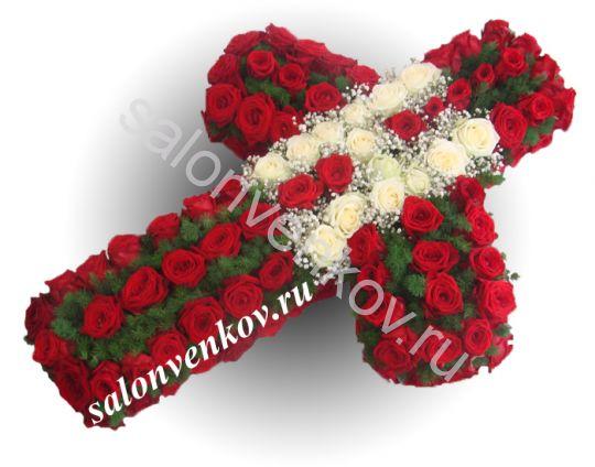 Элитный траурный венок Крест святой Нино из живых цветов №92, РАЗМЕР 95см