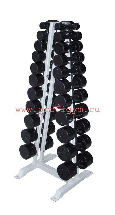 ГФ-003 Гантельный ряд обрезиненный, от 1 до 10кг (10пар)