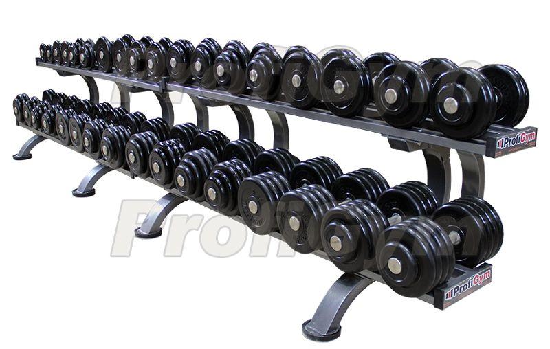 ГП-008 Обрезиненный гантельный ряд «Profigym» от 6 до 46 кг с шагом 2,5 кг
