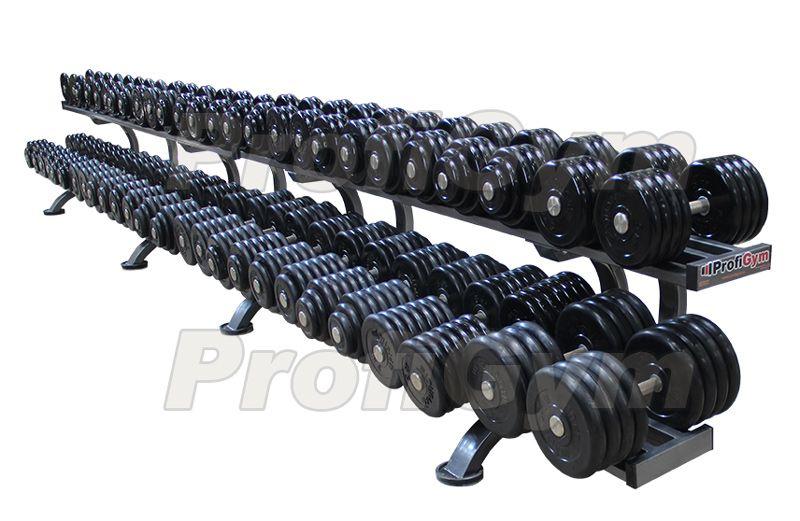 ГП-011 Обрезиненный гантельный ряд «Profigym» от 6 до 66 кг с шагом 2,5 кг
