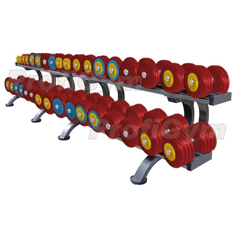 Обрезиненный цветной гантельный ряд «PROFIGYM» от 11 до 43,5 кг с шагом 2.5 кг