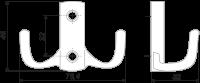 K204GP.6Мебельный крючок двухрожковый K204GP.6