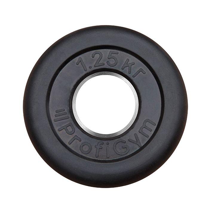 Диск «Profigym» тренировочный обрезиненный 1.25 кг черный 51 мм (металлическая втулка)
