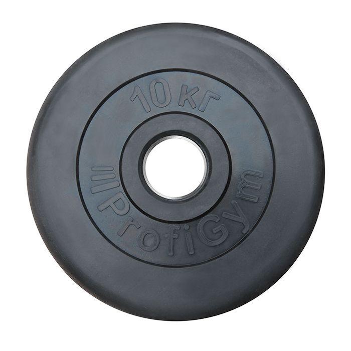 Диск «Profigym» тренировочный обрезиненный 10 кг черный 51 мм (металлическая втулка)