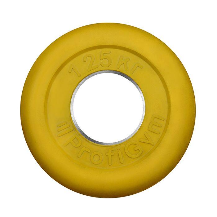 Диск «Profigym» тренировочный обрезиненный 1,25 кг цветной 51 мм (металлическая втулка)