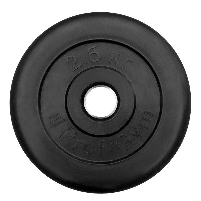 Диск «Profigym» тренировочный обрезиненный 2,5 кг черный 31 мм (металлическая втулка)