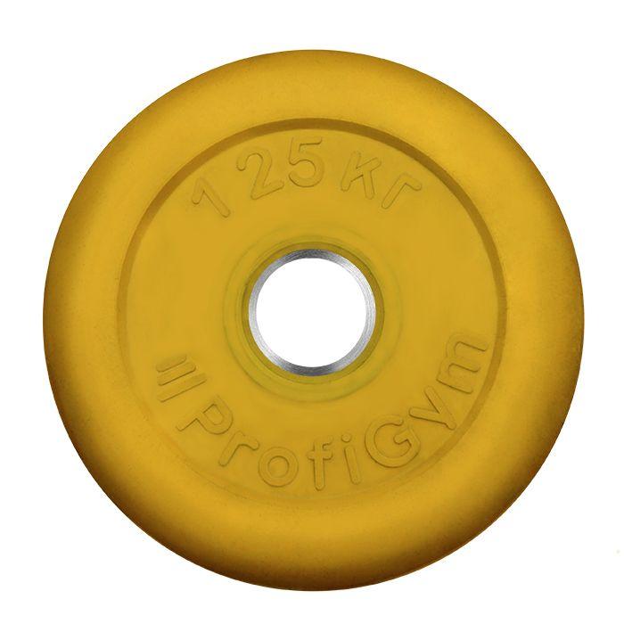 Диск «Profigym» тренировочный обрезиненный 1,25 кг цветной 31 мм (металлическая втулка)