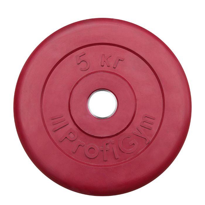 Диск «Profigym» тренировочный обрезиненный 5 кг цветной 31 мм (металлическая втулка)