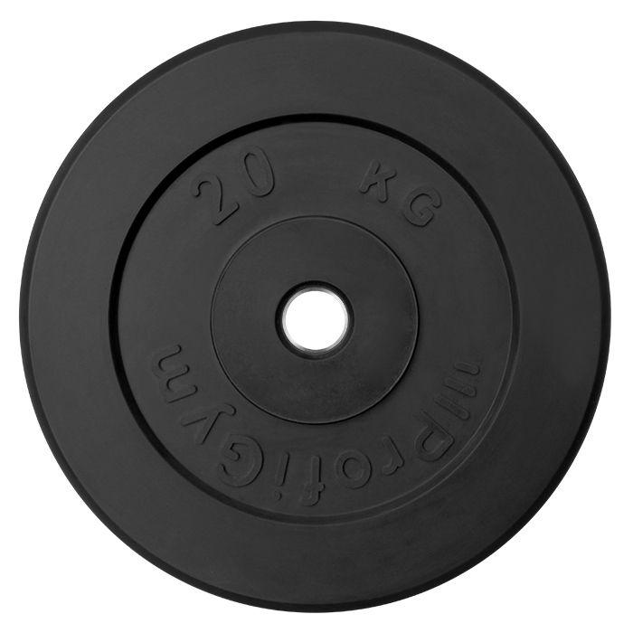 Диск «Profigym» тренировочный обрезиненный 20 кг черный 26 мм (металлическая втулка)