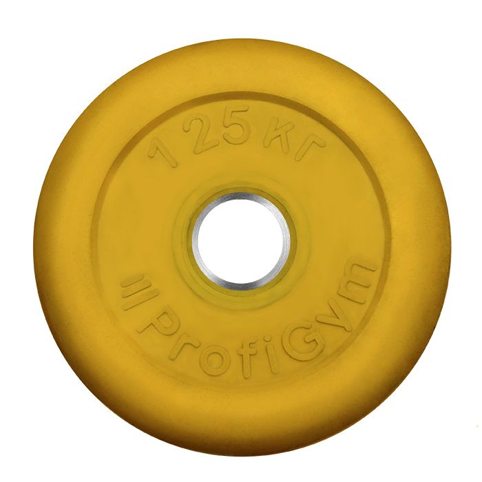 Диск «Profigym» тренировочный обрезиненный 1,25 кг цветной 26 мм (металлическая втулка)