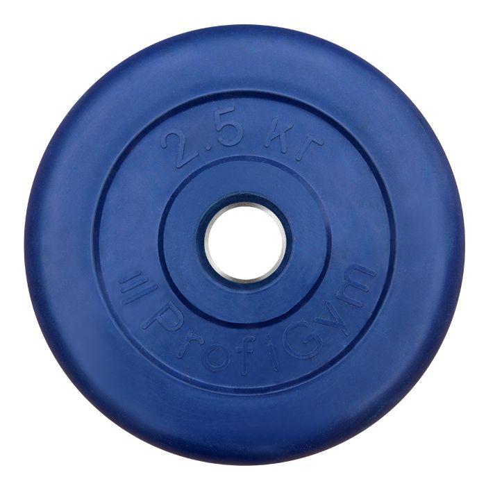 Диск «Profigym» тренировочный обрезиненный 2,5 кг цветной 26 мм (металлическая втулка)
