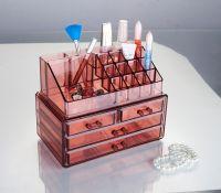 Акриловый органайзер для косметики Multi-Functional Storage Box QFY-3112, цвет бордовый (2)
