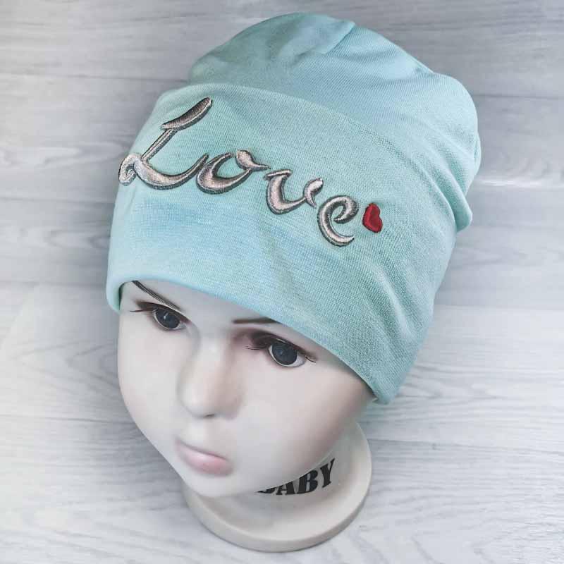 вд1476-34 Шапка трикотажная двойная с отворотом объемная вышивка Love мята