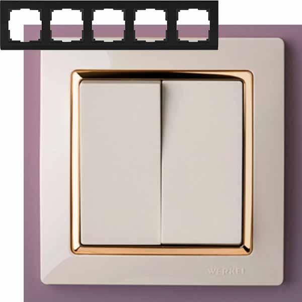 Рамка на 5 постов Werkel WL03-Frame-05-ivory-GD Слоновая кость / золото