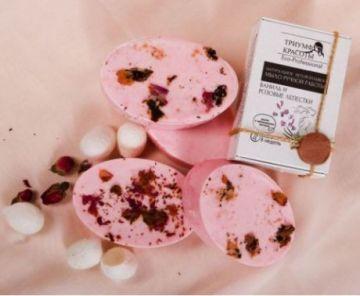 """Натуральное неторопливое мыло ручной работы с нитями шелка """"Ваниль и розовые лепестки"""" 100 гр"""