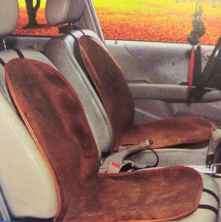 Обогревающая терморегулируемая накидка для переднего сиденья, 95х50 см, Цвет Коричневый
