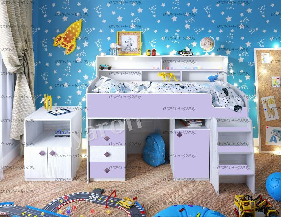 Кровать-чердак Малыш-5К (80х180), есть в наличии новые цвета
