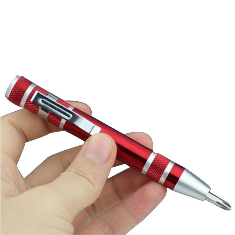 Карманная Отвертка В Виде Ручки 8 in 1 Precision Pocket Screwdriver, Цвет Красный