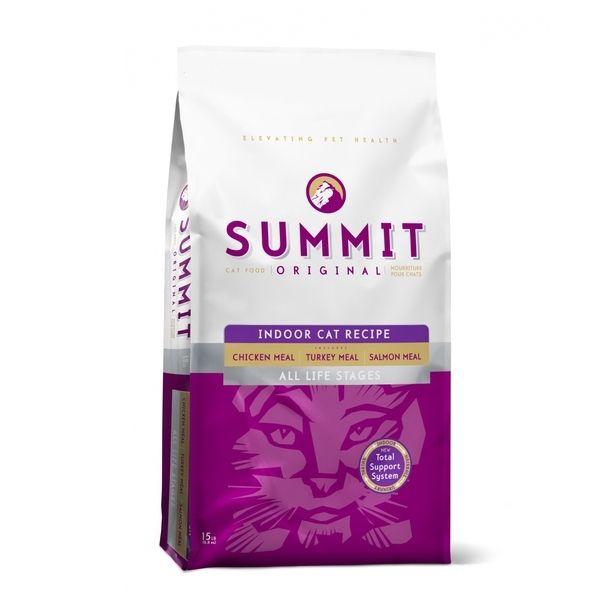 Корм сухой Summit Original 3 Meat, Indoor Cat Recipe CF для котят и кошек три вида мяса с цыпленком, лососем и индейкой 6,8 кг
