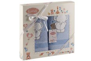 "Комплект полотенец ""KARNA"" детский BAMBINO-SLON 50x70-70х120 см  Голубой"