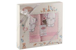 "Комплект полотенец ""KARNA"" детский BAMBINO-SLON 50x70-70х120 см  Розовый"