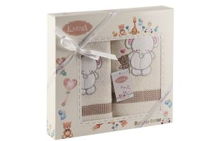 "Комплект полотенец ""KARNA"" детский BAMBINO-SLON 50x70-70х120 см  Mолочный"