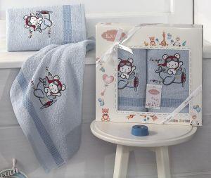 "Комплект полотенец ""KARNA"" детский BAMBINO-SAMALOT 50x70-70х120 см  Голубой"