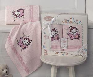 "Комплект полотенец ""KARNA"" детский BAMBINO-SAMALOT 50x70-70х120 см  Розовый"