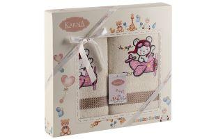 "Комплект полотенец ""KARNA"" детский BAMBINO-SAMALOT 50x70-70х120 см  Mолочный"