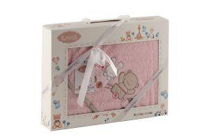 "Полотенце-конверт ""KARNA"" детский BAMBINO-TRAIN 90x90 1/1 Розовый"
