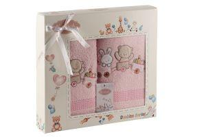 "Комплект полотенец ""KARNA"" детский BAMBINO-TRAIN 50x70-70х120 см  Розовый"