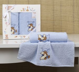"Комплект полотенец ""KARNA"" детский BAMBINO-TEDDY 50x70-70х120 см  Голубой"