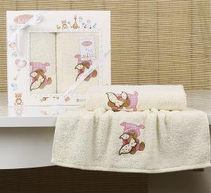 "Комплект полотенец ""KARNA"" детский BAMBINO-TEDDY 50x70-70х120 см  Mолочный"