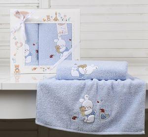 "Комплект полотенец ""KARNA"" детский BAMBINO-BUNNY 50x70-70х120 см  Голубой"