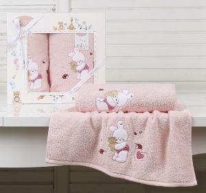 """Комплект полотенец """"KARNA"""" детский BAMBINO-BUNNY 50x70-70х120 см  Розовый"""