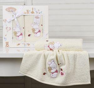 "Комплект полотенец ""KARNA"" детский BAMBINO-BUNNY 50x70-70х120 см  Mолочный"