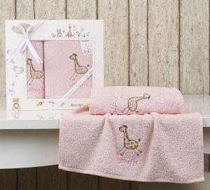 """Комплект полотенец """"KARNA"""" детский BAMBINO-GIRAFFE 50x70-70х120 см  Розовый"""