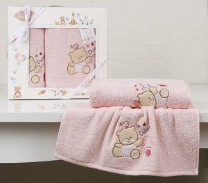 "Комплект полотенец ""KARNA"" детский BAMBINO-BEAR 50x70-70х120 см  Розовый"